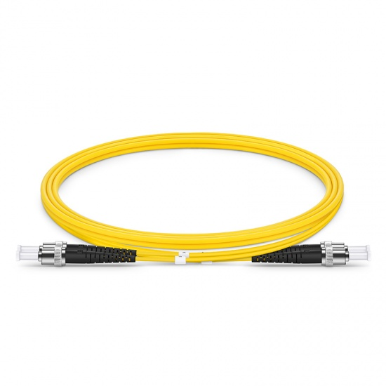 Customized Length ST UPC to ST UPC Duplex OS2 Single Mode PVC (OFNR) 2.0mm Fiber Optic Patch Cable