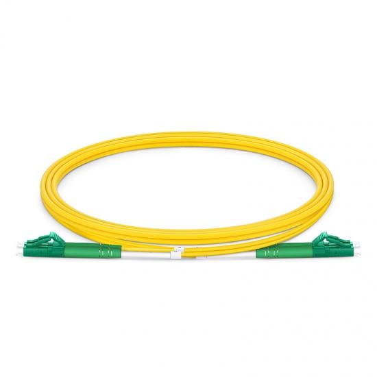 Customized Length LC APC to LC APC Duplex OS2 Single Mode PVC (OFNR) 2.0mm Fiber Optic Patch Cable
