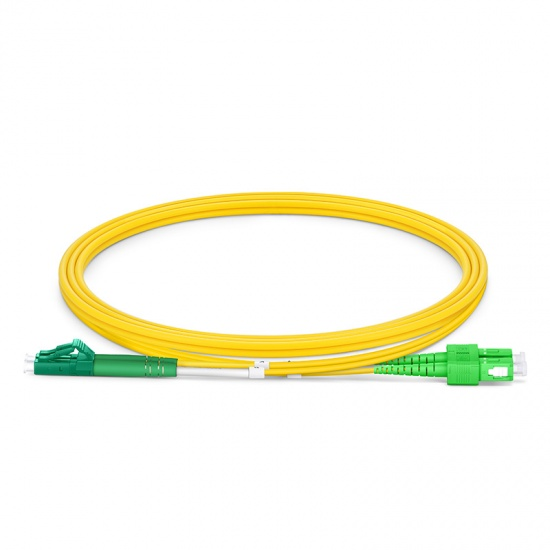 Customized Length LC APC to SC APC Duplex OS2 Single Mode PVC (OFNR) 2.0mm Fiber Optic Patch Cable