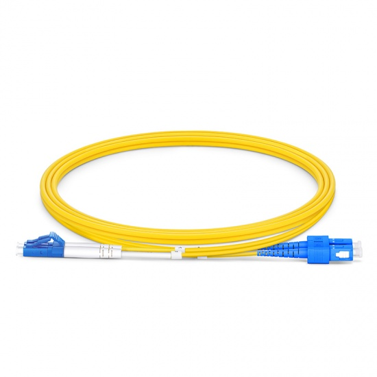 Customized Length LC UPC to SC UPC Duplex OS2 Single Mode OFNP 2.0mm Fiber Optic Patch Cable