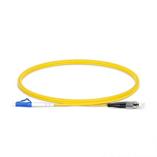 Customized Length LC UPC to FC UPC Simplex OS2 Single Mode PVC (OFNR) 2.0mm Fiber Optic Patch Cable