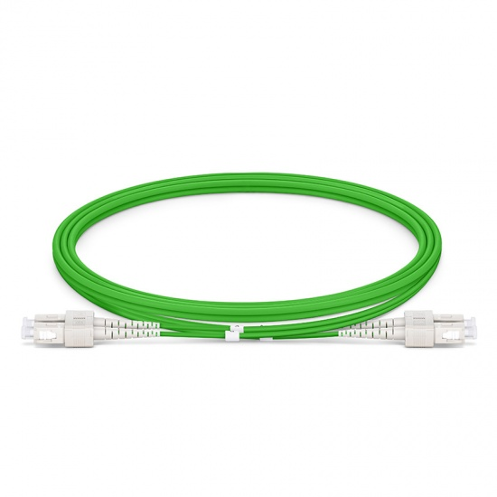 Customized Length SC UPC to SC UPC Duplex OM5 Multimode Wideband PVC (OFNR) 2.0mm Fiber Optic Patch Cable