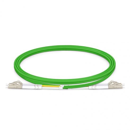 Customized Length LC UPC to LC UPC Duplex OM5 Multimode Wideband PVC (OFNR) 2.0mm Fiber Optic Patch Cable