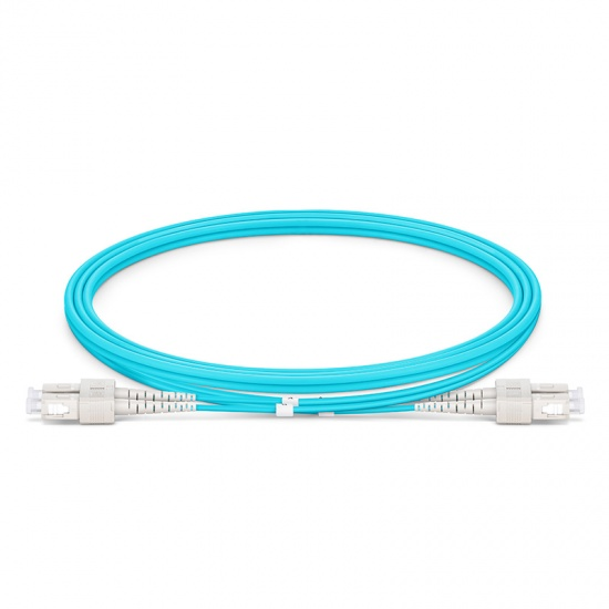Customized Length SC UPC to SC UPC Duplex OM4 Multimode OFNP 2.0mm Fiber Optic Patch Cable