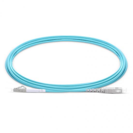 Cable de fibra óptica OM4 multimodo LC UPC a SC UPC símplex 2.0mm PVC(OFNR), longitud personalizada