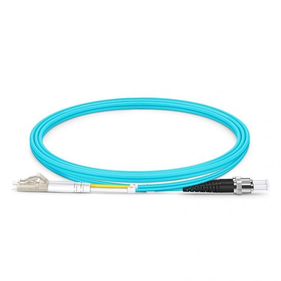 Customized Length LC UPC to ST UPC Duplex OM4 Multimode PVC (OFNR) 2.0mm Fiber Optic Patch Cable