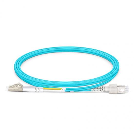 LWL-Patchkabel mit maßgeschneiderter Länge, LC UPC auf SC UPC Duplex Stecker, OM3 Multimode OFNP 2,0mm