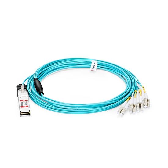 Generisch Kompatibles 40G QSFP+ auf 4 Duplex LC Breakout Aktives Optisches Kabel (AOC), 30m (98ft)