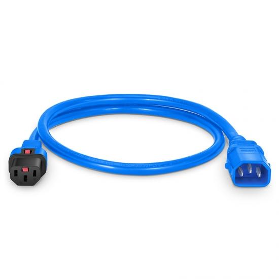 0.6m 14AWG 250V/15A双锁扣电源线,IEC320 C14转C13  蓝色
