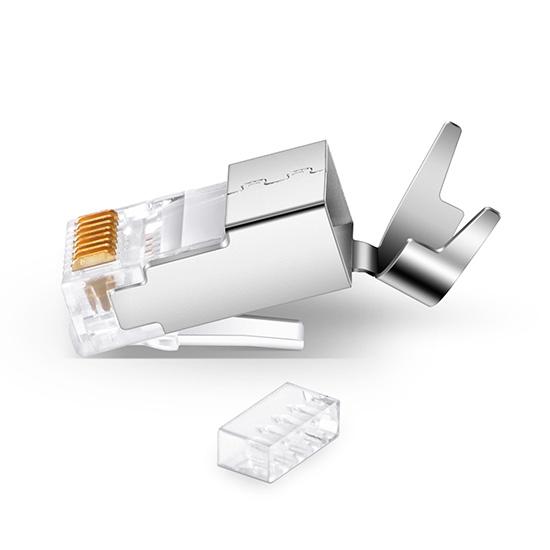 Cat7 七类屏蔽RJ45网络水晶头 带固定配件(50个/包)