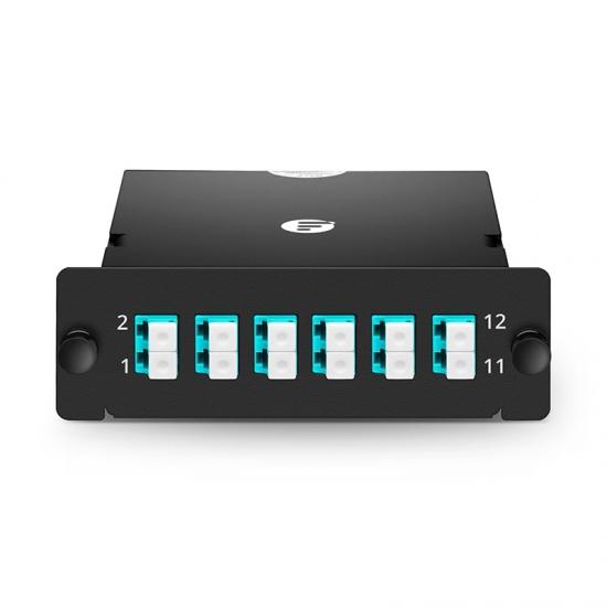 12 Fasern FHD MPO LWL-Kassette, OM3 Multimode für MPO-12 auf 6x LC Duplex, Polarität A
