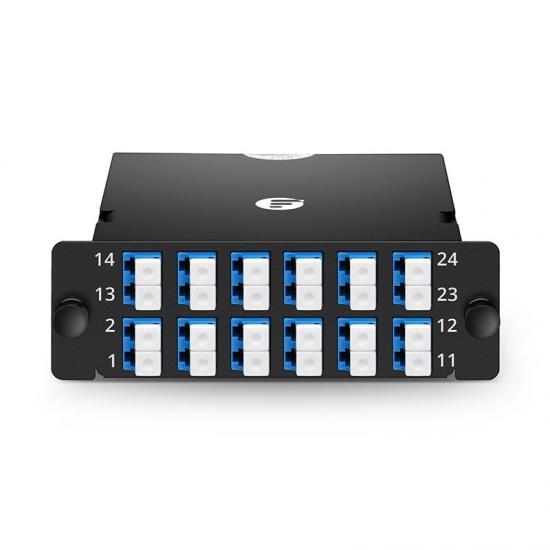 24芯 2xMPO-12xLC双工万兆单模(OS2)光纤配线盒 FHD,极性AF