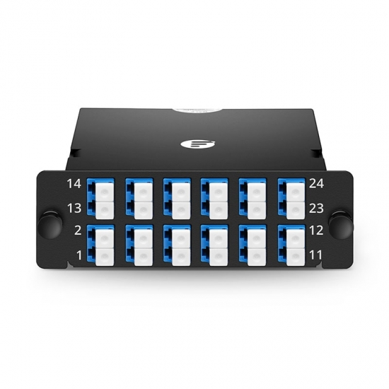24芯 MPO-12xLC双工万兆单模(OS2)光纤配线盒 FHD,极性AF