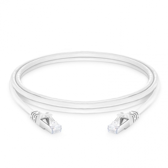 8ft (2.4m) Cat6a Snagless Shielded (SFTP) PVC CMX Ethernet Network Patch Cable, White