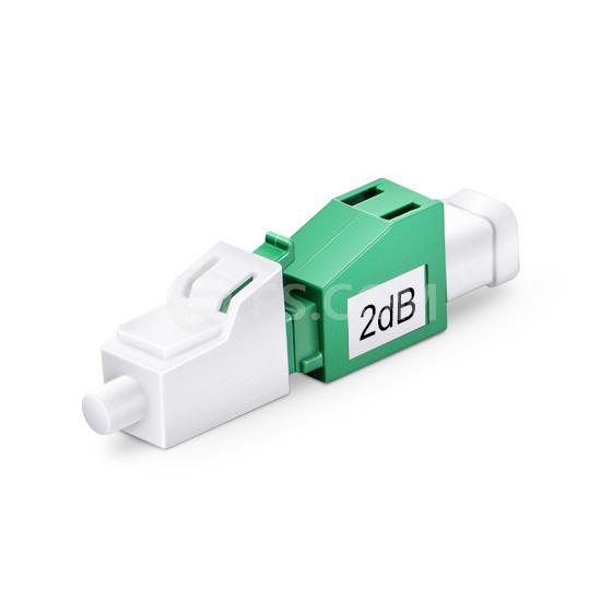 Atténuateur à Fibre Optique Fixe Monomode LC/APC, Mâle-Femelle, 2dB