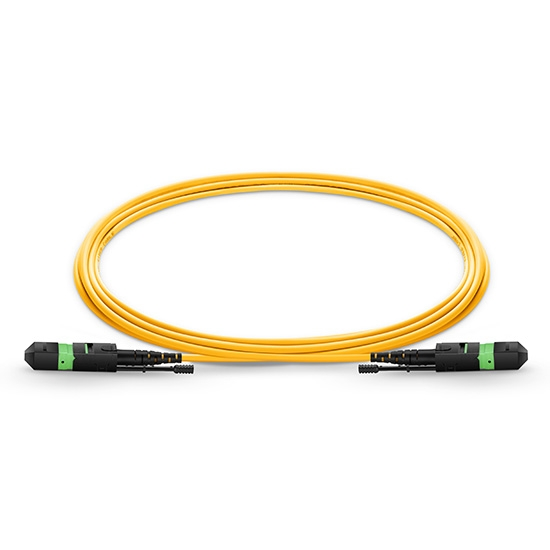 2m (7ft) MTP Female 12 Fibers Type B LSZH OS2 9/125 Single Mode Elite HD Trunk Cable, Yellow
