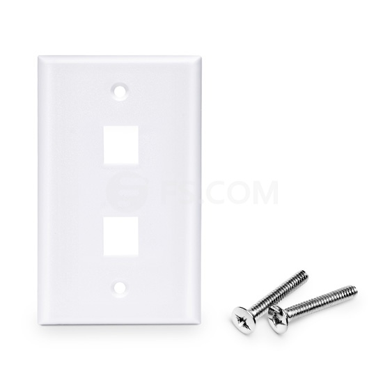 Placa de Pared de Red de 2 Puertos RJ45 Tipo Keystone Single Gang - Tapa Placa Para Caja Pared - Blanca