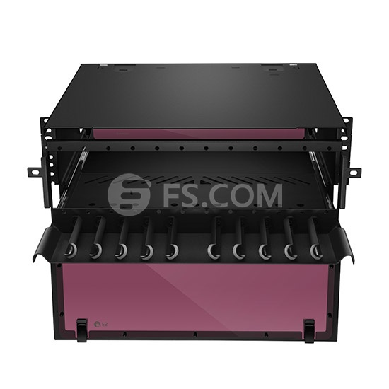Upgrading 4U Rack Mount HD Fiber Enclosure Unloaded, Holds up to 12x Fiber Adapter Panels or 12x MPO/MTP Cassettes