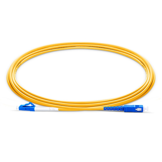 0.5m (1.6ft) LC UPC to SC UPC Simplex OS2 Single Mode PVC (OFNR) 2.0mm Fibre Optic Patch Lead