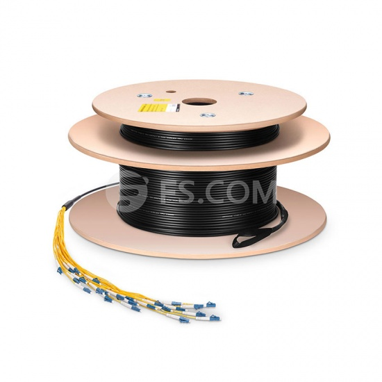 Customized LC/SC/FC/ST 2 Fibers Indoor/Outdoor OS2 Single Mode Assembly, 2.0mm Breakout Cable
