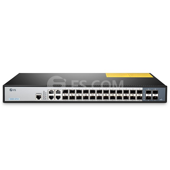 S3800-24F4S 24-Port Gigabit Stackable SFP Managed Switch with 4 Combo SFP and 4 10GE SFP+ Uplinks, Dual Power