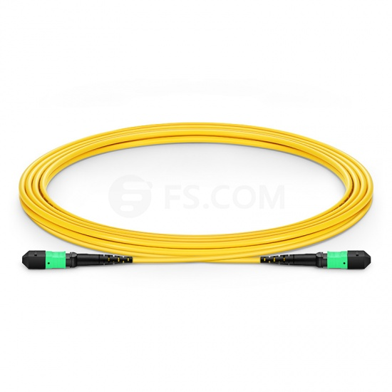 3m (10ft) MTP Female 12 Fibers Type A Plenum (OFNP) OS2 9/125 Single Mode Elite Trunk Cable, Yellow