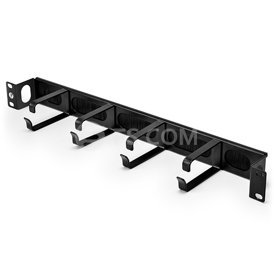 1U Metal Recessed Horizontal Cable Manager with 4 D-rings & Brush Strip