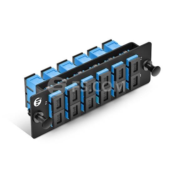 Fiber Adapter Panel with 6 SC Duplex OS2 Single Mode Adapters (Blue), Zirconia Ceramic