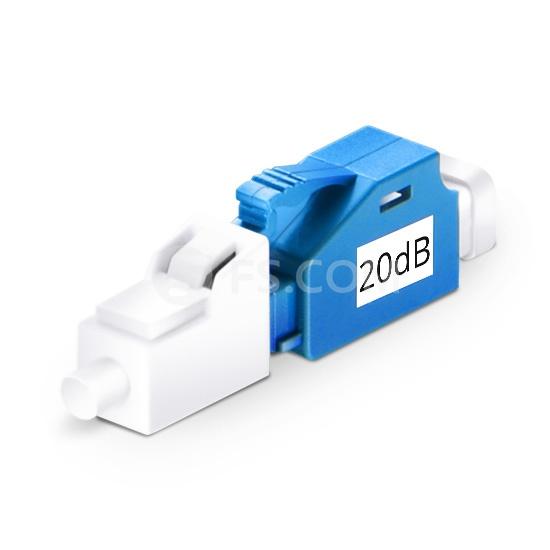 Atenuador de fibra óptica fijado LC/UPC monomodo,macho-hembra, 20dB