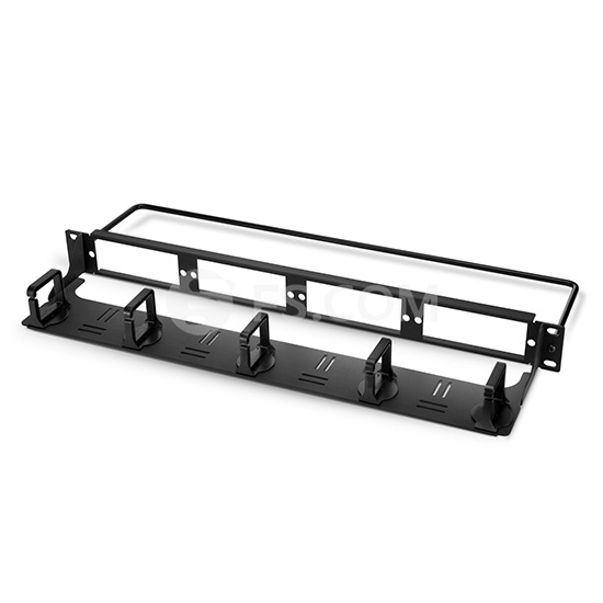 1U 19in Blank Rackmount Fiber Patch Panel with 5 Detachable Plastic D-rings on the Cable Management Panel and Lacing Bar