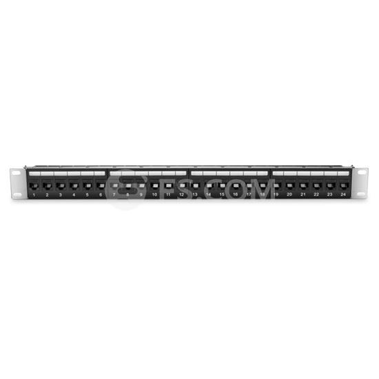 Panel de Conexión Cat 6 Par trenzado sin blindaje (UTP) de 24 Puertos - Montaje en Rack de 1U - Panel de Parcheo - Negro