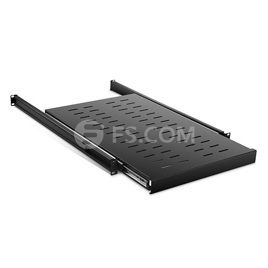 1U Adjustable Sliding Shelf with 650mm-950mm Mounting Depth and 132.28lbs (60kg) Capacity