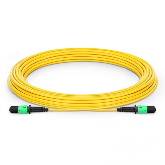 Customized Length MPO Female 12 Fibers Type A LSZH OS2 9/125 Single Mode Elite Trunk Cable, Yellow