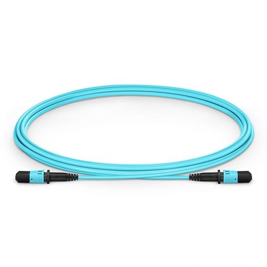2m (7ft) MPO Female 12 Fibers Type B LSZH OM3 50/125 Multimode Elite Trunk Cable, Aqua