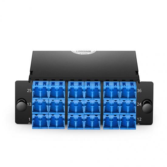 FHD 36芯 OS2 MTP®预端接模块盒,3xMTP®-12转18xLC双工,A极性,0.35dB插损