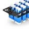 Fiber Adapter Panel with 12 LC Duplex OS2 Single Mode Adapters (Blue), Zirconia Ceramic