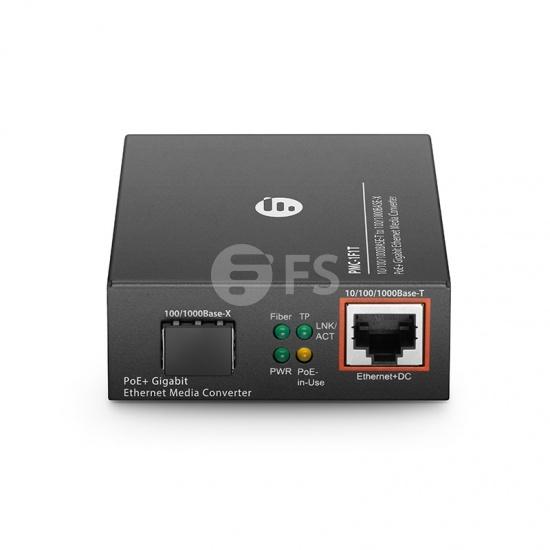Convertisseur de Média Gigabit Ethernet PoE+, 1x 10/100/1000Base-T vers 1x 100/1000Base-X SFP Rainure, Plug Européenne