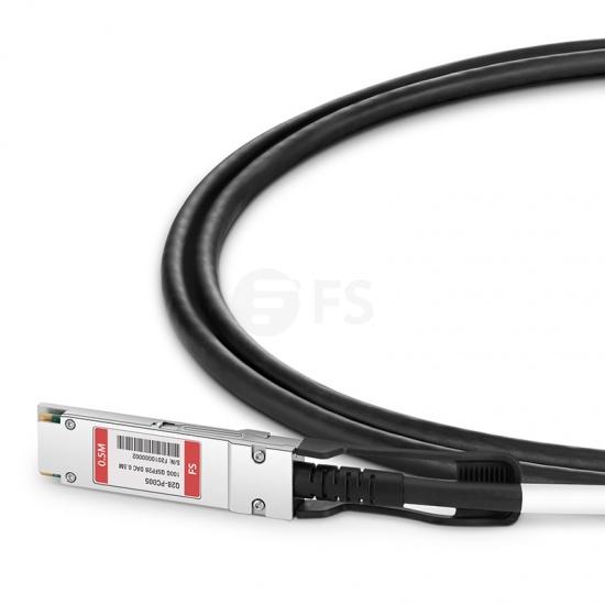 0.5m 中性(Generic)兼容QSFP28-100G-DAC  QSFP28 转 QSFP28 无源铜芯高速线缆 30AWG