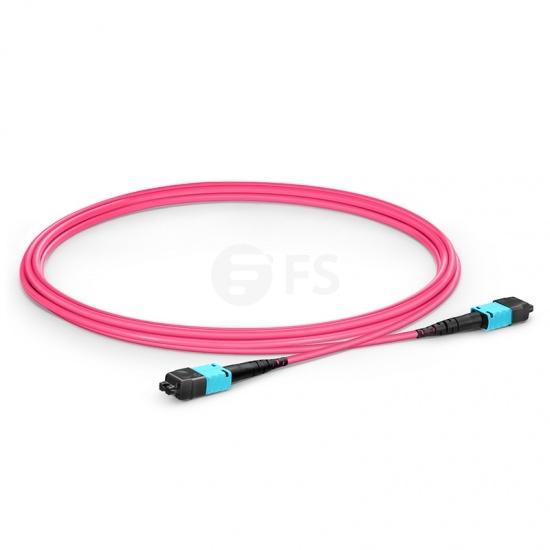 2m 12芯 US Conec MTP® PRO (公头) OM4 50/125 多模主干光纤跳线, 极性B  Plenum (OFNP)