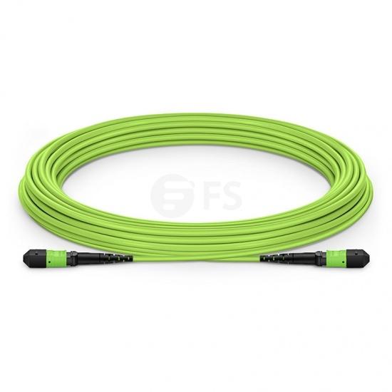 Cable breakout MTP® elite hembra 12 fibras tipo B, OM5 50/125 multimodo, plenum (OFNP), verde limón,longitud personalizada