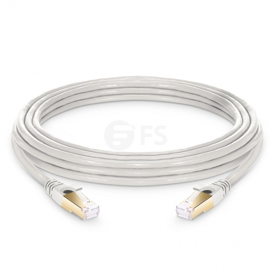 20ft (6.1m) Cat8 Snagless Shielded (SFTP) PVC CM Ethernet Network Patch Cable, Off-White