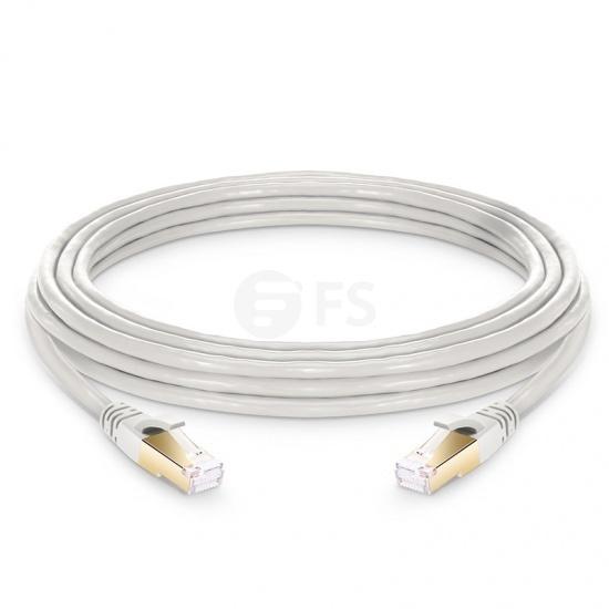 25ft (7.6m) Cat8 ツメ折れ防止 シールド付き(SFTP)イーサネットネットワーク用LANパッチケーブル(PVC CM、オフホワイト)