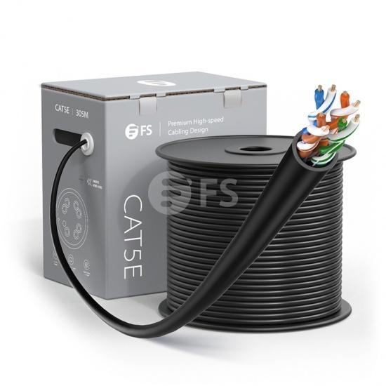 Bobina de cable de red Ethernet Cat5e, 1000ft (305m), certificado por UL, 24AWG, 350MHz, sin blindaje (UTP), PVC CM, negro