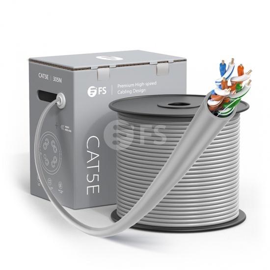 Bobina de cable de red Ethernet Cat5e, 1000ft (305m), certificado por UL, 24AWG, 350MHz, sin blindaje (UTP), PVC CM, gris