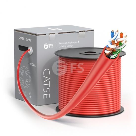 Bobina de cable de red Ethernet Cat5e, 1000ft (305m), certificado por UL, 24AWG, 350MHz, sin blindaje (UTP), PVC CM, rojo