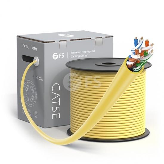 Bobina de cable de red Ethernet Cat5e, 1000ft (305m), certificado por UL, 24AWG, 350MHz, sin blindaje (UTP), PVC CM, amarillo