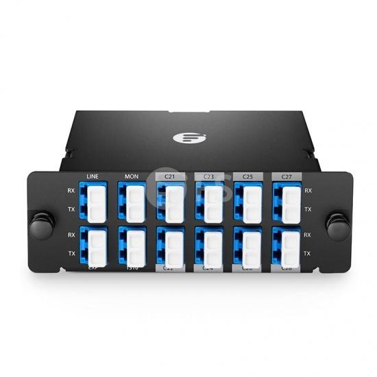 DWDM Mux Demux 8 canales 100GHz C21-C28, con puerto de monitoreo, puerto de expansión y de 1310nm, LC/UPC, fibra dual, alta densidad, módulo plug-in FHD