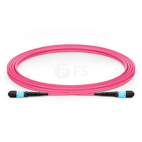 Cable troncal de fibra óptica 3m (10ft) MTP® macho 12 fibras a MTP® hembra 12 fibras, tipo B, plenum (OFNP) OM4 50/125 multimodo Élite, magenta