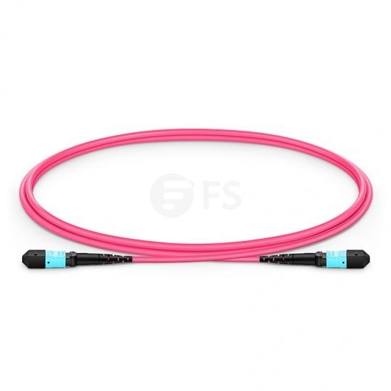 Cable troncal de fibra óptica MTP® macho 12 fibras a MTP® hembra 12 fibras personalizado, tipo B, plenum (OFNP) OM4 50/125 multimodo Élite, magenta
