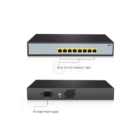 S1900-8TP, 8-Port Gigabit Ethernet SOHO Unmanaged PoE Switch, 8 x PoE+ Ports @140W, Metal, Desktop/RackMount